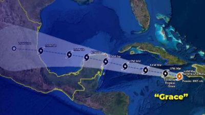 Tormenta tropical Grace afectaría Península de Yucatán este miércoles