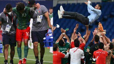Diego Lainez en brazos y Jaime Lozano en los aires, así festejó México su triunfo ante Japón