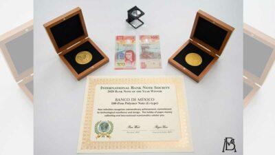 • El billete de 100 pesos mexicano derrotó a otros como el Ulster Bank de Irlanda del Norte de 20 libras.