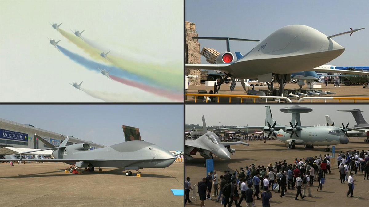 Fuerza Aérea China presenta drones y aviones electrónicos