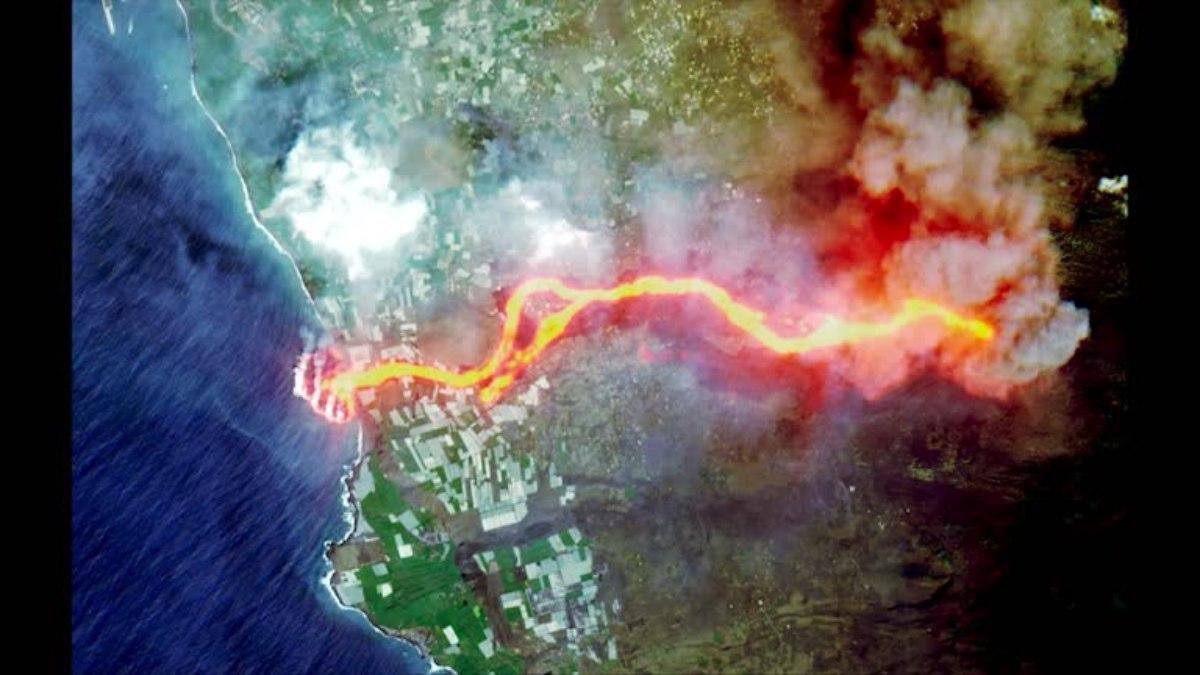 NASA captura el sorprendente camino de lava del volcán Cumbre Vieja hasta el océano