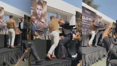 """""""Canelo"""" Álvarez y Caleb Plant se van a los golpeos durante presentación"""