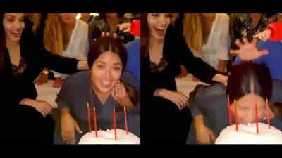 Angelina Jolie da pastelazo a Salma Hayek por su cumpleaños