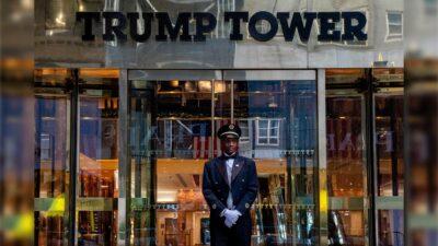 Trump guardias manifestantes