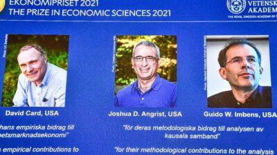Los 3 ganadores del Premio Nobel de Economía: David Card, Joshua Angrist y Guido Imbens